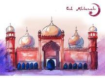 Поздравительная открытка счастливый Eid, Eid Mubarak красивая, горизонтальное расположение, с розовой и фиолетовой предпосылкой и иллюстрация штока