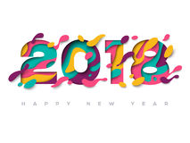 поздравительная открытка 2018 с абстрактными формами отрезка бумаги Стоковое Изображение