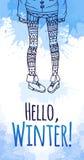 Поздравительная открытка с акварелью брызгает и женские ноги иллюстрация вектора