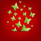 Поздравительная открытка с бабочками зеленой книги Стоковое Изображение RF