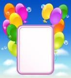 Поздравительная открытка с воздушными шарами иллюстрация штока