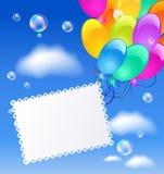 Поздравительная открытка с воздушными шарами бесплатная иллюстрация