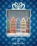 Поздравительная открытка с европейским городком. Стоковые Изображения RF