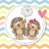 Поздравительная открытка с 2 ежами иллюстрация штока