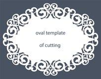 Поздравительная открытка с декоративной овальной границей, doily бумаги под тортом, шаблона для резать, wedding приглашение, деко Стоковое Фото