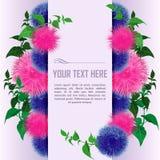 Поздравительная открытка с листьями цветков и зеленого цвета бесплатная иллюстрация