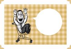 Поздравительная открытка с катанием бизнесмена в магазинной тележкае бесплатная иллюстрация