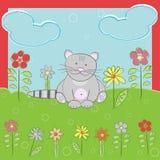 Поздравительная открытка с котом иллюстрация вектора