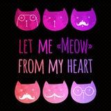 Поздравительная открытка с красочными котами иллюстрация вектора