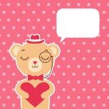 Поздравительная открытка с милый мальчиком медведя Стоковые Фотографии RF