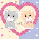 Поздравительная открытка с 2 милыми котами в сердце Стоковые Изображения RF