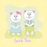 Поздравительная открытка с 2 милыми котами на зеленой предпосылке Стоковое фото RF