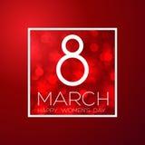 Поздравительная открытка с 8-ое марта, днем ` s женщин на предпосылке bokeh, иллюстрации вектора Стоковые Изображения RF