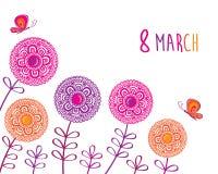 Поздравительная открытка с 8-ое марта Стоковые Изображения