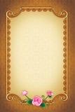 Поздравительная открытка с орнаментальными предпосылкой и рамкой Стоковое Фото
