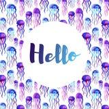 Поздравительная открытка с предпосылкой акварели jellifish Иллюстрация вектора