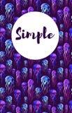 Поздравительная открытка с предпосылкой акварели jellifish Иллюстрация штока