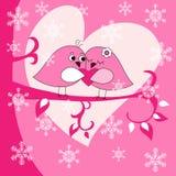 Поздравительная открытка с птицами и сердцами иллюстрация вектора