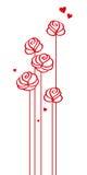 Поздравительная открытка с розами и сердцами иллюстрация штока