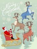 Поздравительная открытка с северными оленями и Санта на санях Стоковая Фотография