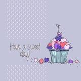 Поздравительная открытка с сердцами и пирожными Стоковое Фото