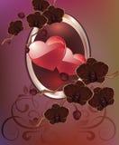 Поздравительная открытка с сердцами цветков День матери карточки, день валентинки Стоковые Фотографии RF