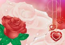 Поздравительная открытка с сердцами цветков День матери карточки, день валентинки Стоковые Фото
