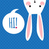 Поздравительная открытка с смешным зайчиком белизна ушей зайчика предпосылки изолированная пасхой Стоковые Фотографии RF
