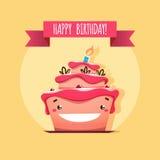 Поздравительная открытка с смешным именниным пирогом бесплатная иллюстрация