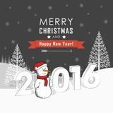 Поздравительная открытка с снеговиками и снежностями Стоковое Изображение