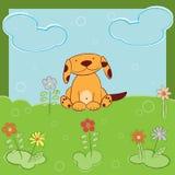 Поздравительная открытка с собакой иллюстрация вектора