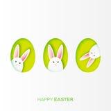 Поздравительная открытка с счастливой пасхой - с кроликом пасхи белой бумаги Стоковые Фотографии RF