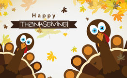 Поздравительная открытка с счастливым индюком благодарения, вектор шаблона Стоковые Изображения