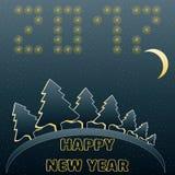 Поздравительная открытка с счастливым Новым Годом в голубых и желтых цветах также вектор иллюстрации притяжки corel Стоковое Фото