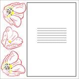 Поздравительная открытка с тюльпанами и рамкой Бесплатная Иллюстрация