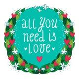 Поздравительная открытка с флористическими рамкой и сердцами Стоковые Фотографии RF