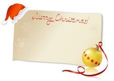 Поздравительная открытка с шляпой и шариком santa Стоковые Изображения