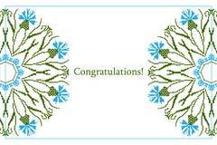 Поздравительная открытка с этнической картиной орнамента cornflower Стоковые Фото