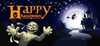 Поздравительная открытка хеллоуина с мумией Стоковые Фотографии RF