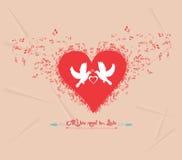 Поздравительная открытка элементов музыки дня валентинок Стоковые Фотографии RF