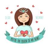 Поздравительная открытка для мамы с влюбленностью Стоковая Фотография
