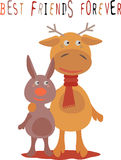 Поздравительная открытка для друга с оленями и кроликом Стоковое Фото