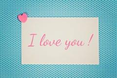 Поздравительная открытка я тебя люблю Стоковое Изображение