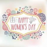 Поздравительная открытка для торжества дня женщин Стоковые Изображения RF