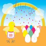 Поздравительная открытка Alleluja с яичками и желтым цыпленоком Стоковые Изображения RF