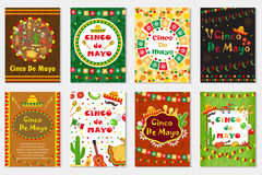 Поздравительная открытка Cinco de Mayo установленная, шаблон для рогульки, плаката, приглашения Мексиканское торжество с традицио Стоковое фото RF