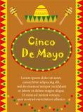 Поздравительная открытка Cinco de Mayo, шаблон для рогульки, плаката, приглашения Мексиканское торжество с традиционными символам Стоковые Фото