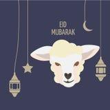 Поздравительная открытка Eid Mubarak Al-Adha Eid Фестиваль плаката поддачи Стоковые Фотографии RF