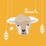Поздравительная открытка Eid Mubarak Al-Adha Eid Фестиваль Sacrific Стоковые Изображения