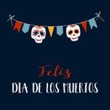 Поздравительная открытка Feliz Dia de los Muertos, приглашение Стоковые Изображения RF